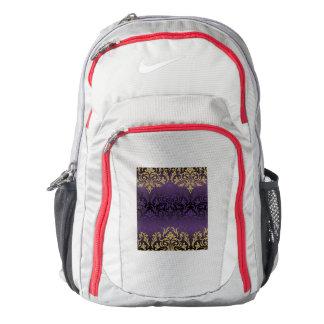 purple,ultra violet,damask,vintage,pattern,gold,ch backpack