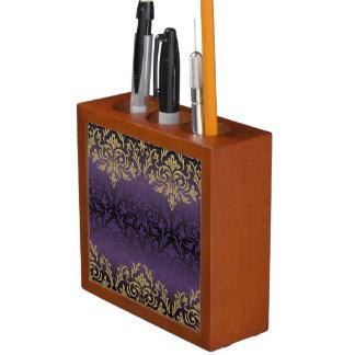 purple,ultra violet,damask,vintage,pattern,gold,ch desk organiser