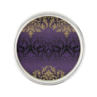 purple,ultra violet,damask,vintage,pattern,gold,ch lapel pin