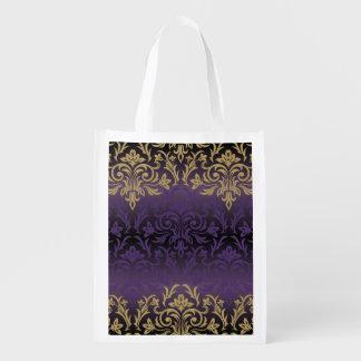 purple,ultra violet,damask,vintage,pattern,gold,ch reusable grocery bag