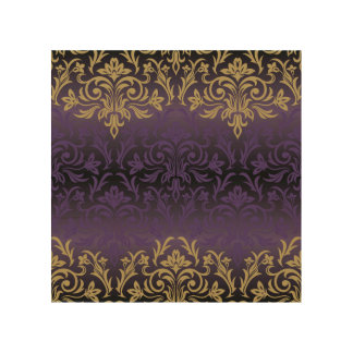 purple,ultra violet,damask,vintage,pattern,gold,ch wood wall decor