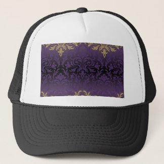 purple,ultra violet,damask,vintage,pattern,gold, trucker hat