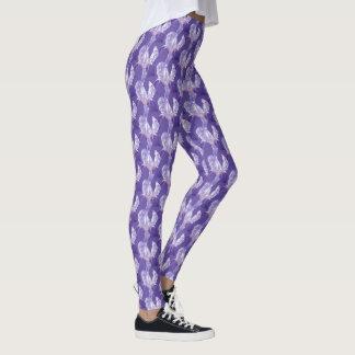 Purple ultra violet iris art pattern leggings