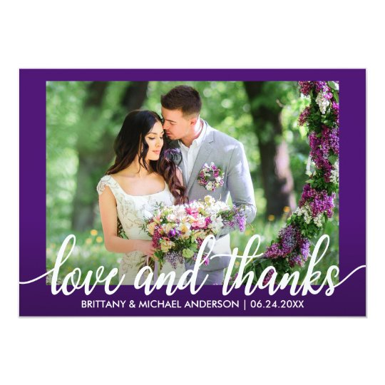 Purple Ultra Violet Wedding Love and Thanks Card