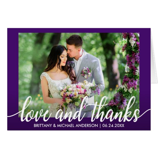 Purple Ultra Violet Wedding Love and Thanks Note Card