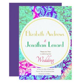 Purple Ultraviolet Boho floral Wedding Invitation