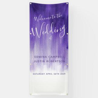 Purple ultraviolet wedding art welcome banner