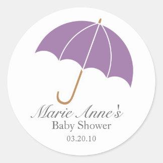 purple umbrella BABY SHOWER custom keepsake label Sticker