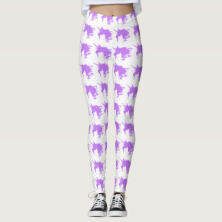 Purple Unicorn Fantasy Silhouette Pattern Leggings