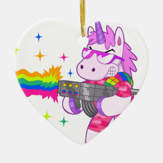 Purple Unicorn - Gun Ceramic Heart Decoration