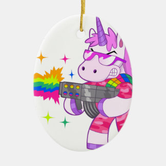 Purple Unicorn - Gun Ceramic Oval Decoration