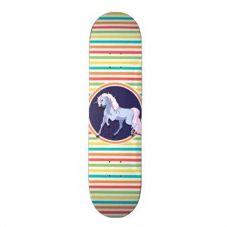 Purple Unicorn on Bright Rainbow Stripes Skateboards