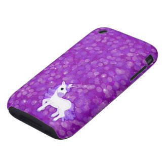 Purple Unicorn on Glitter iPhone 3 Tough Cases