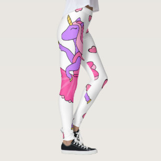 Purple unicorn pink ballerina hearts leggings