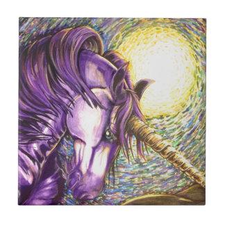 purple unicorn small square tile