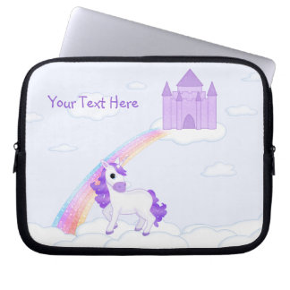 Purple Unicorn with Castle in the Clouds Cartoon Laptop Sleeve