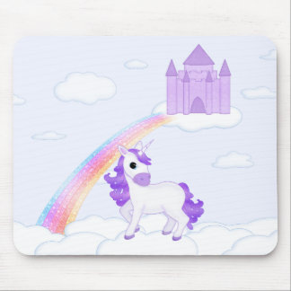 Purple Unicorn with Castle in the Clouds Cartoon Mouse Pad
