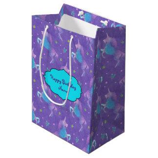 Purple Unicorns Pink Stars Medium Gift Bag