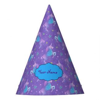 Purple Unicorns Pink Stars Party Hat