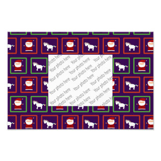 Purple unicorns santa claus pattern photo