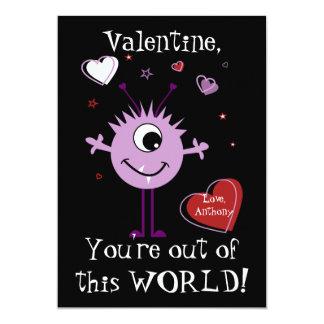 Purple Valentine Alien Monster Card 13 Cm X 18 Cm Invitation Card