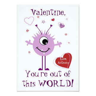 Purple Valentine Alien Monster Card 13 Cm X 18 Cm Invitation Card