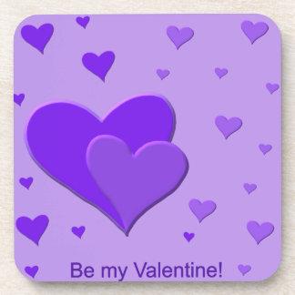 Purple Valentine Hearts Drink Coasters