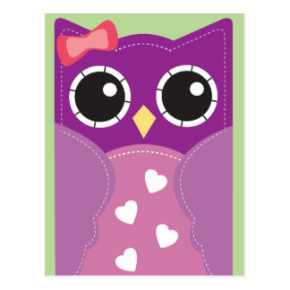 Purple Valentine Owl Classroom Cards for Kids Postcard