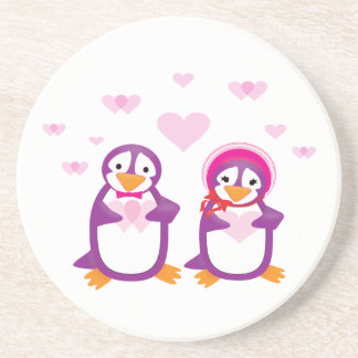 Purple Valentine Penguins Coaster