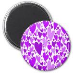 Purple Valentine's hearts magnet