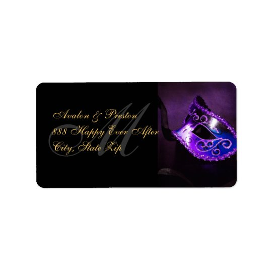 Purple Venetian Masquerade Mask Address Label