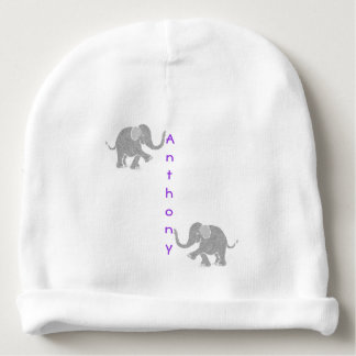 Purple Vertical Baby Name Cute Grey Baby Elephants Baby Beanie