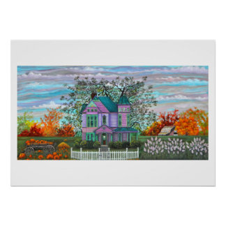 Purple Victorian House Wagon Pumpkins Fall Trees Poster