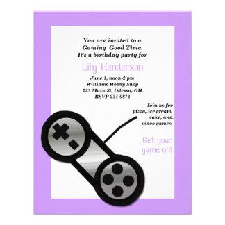 Purple Video Gaming Party Invitation