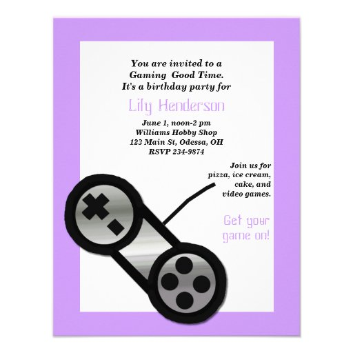 Purple Video Gaming Party Invitation