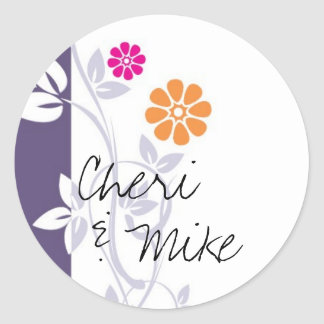 Purple Vine and Flowers Round Stickers