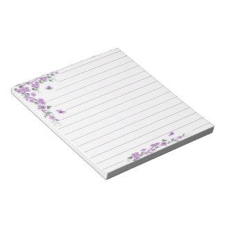 Purple vine floral notepads