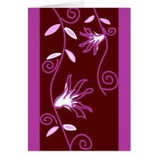 Purple Vine Flowers Blank Card