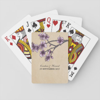 Purple Vintage Cherry Blossoms Playing Cards
