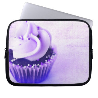 Purple Vintage Cupcake Sprinkles Laptop Sleeve