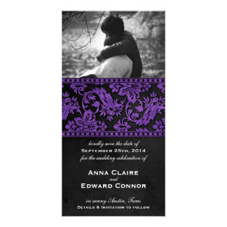 Purple Vintage Damask Lace Save the Date Personalized Photo Card