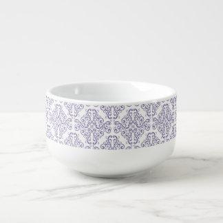 Purple Vintage Damask Pattern Soup Mug