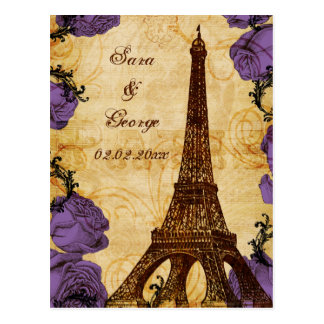 purple vintage eiffel tower Paris save the date Postcard