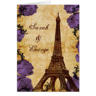 purple vintage eiffel tower Paris thank you Greeting Card
