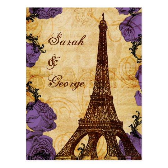 purple vintage eiffel tower Paris wedding rsvp Postcard