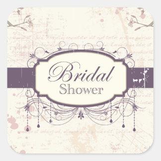 Purple vintage floral bridal shower stickers