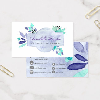 Purple Vintage Floral Business Card