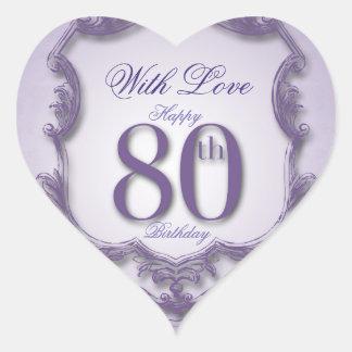 Purple Vintage Frame 80th birthday Heart Sticker