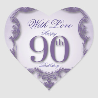 Purple Vintage Frame 90th birthday Heart Sticker