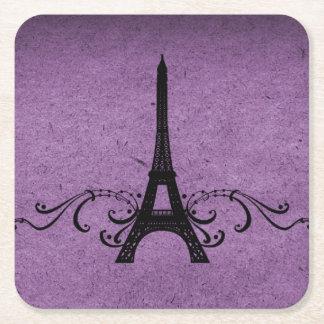 Purple Vintage French Flourish Paper Coaster